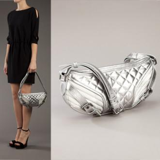 New Burberry Silver Quilted Nova Check and Leather Half Moon Bag