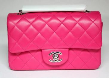 Chanel Fuchsia Hot Pink Lambskin Leather Flap Bag New