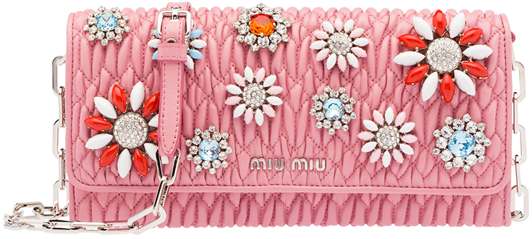 Miu Miu Crystal Flower Wallet On Chain Bag