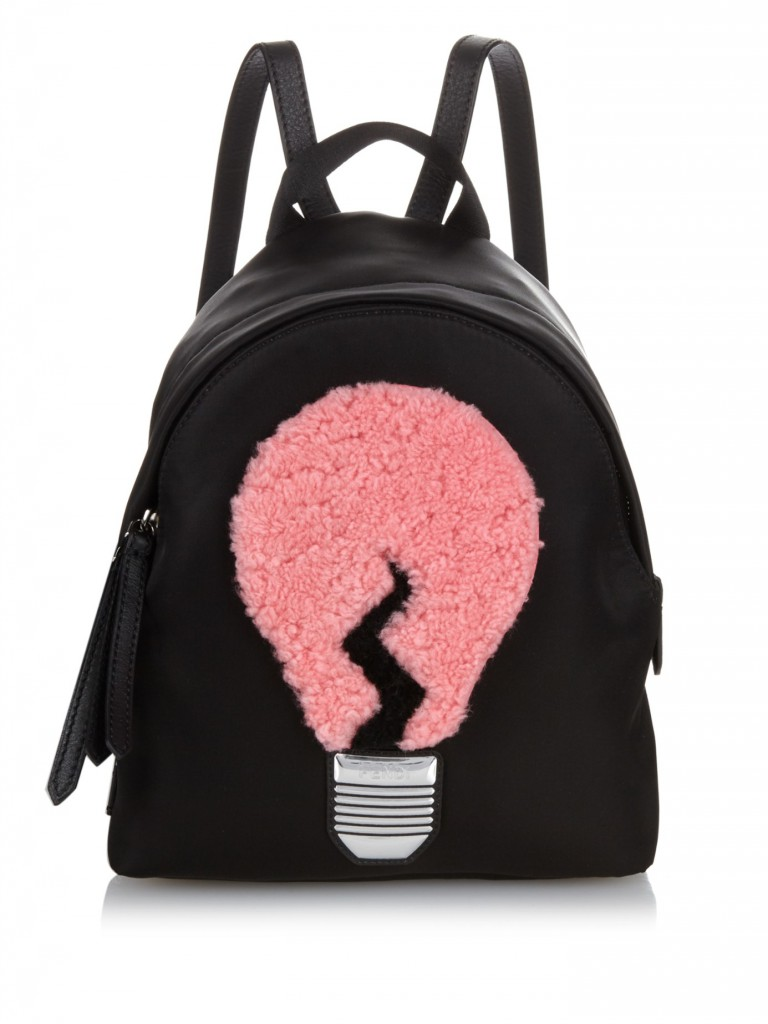 Reviewing Fendi Lamp And Apple Shearling Nylon Backpack