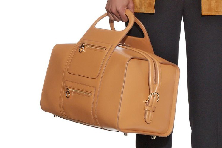 New Salvatore Ferragamo Leather Bowling Bag