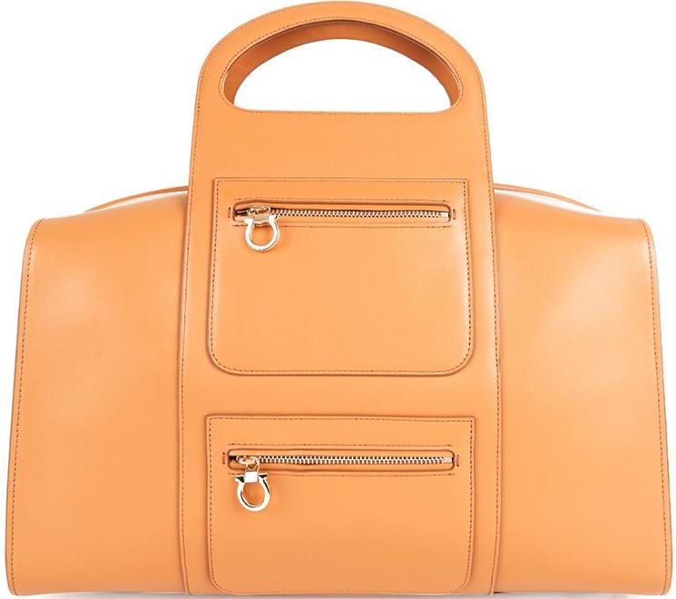 New Salvatore Ferragamo Leather Bowling Bag