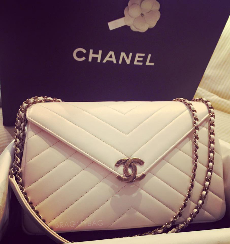 New Chanel Chevron Flap Bag With Large CC Leather Strap