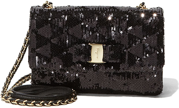 Vintage Salvatore Ferragamo Vara Flap Bag in Metallic Sequins
