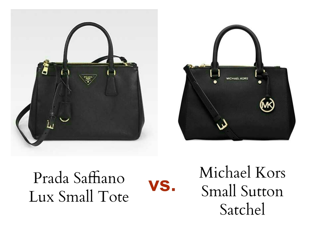 Bag Review Michael Kors Sutton Satchel in Black Small versus Prada Saffiano Lux Small Tote