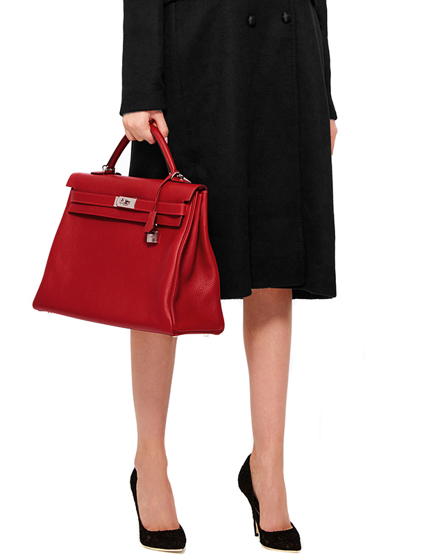 Hermes Kelly 40 Retourne Bag in Rouge Casaque Clemence Leather