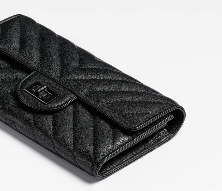 Chanel All Black Reissue 2.55 Double Chevron Flap Wallet