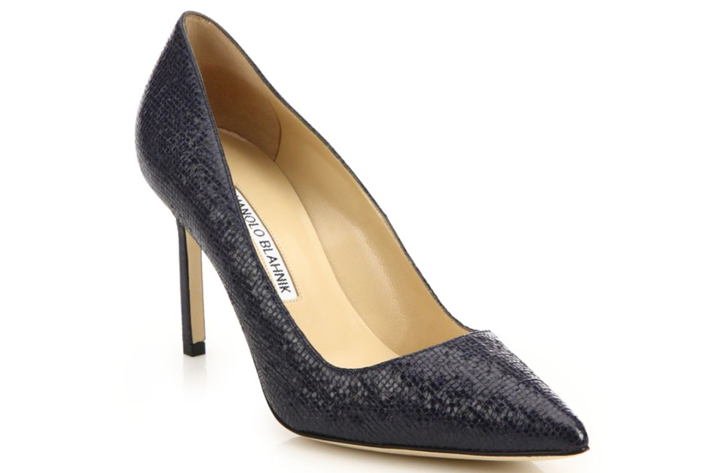 5 in Embossed Patent Leather Pumps via Saks.