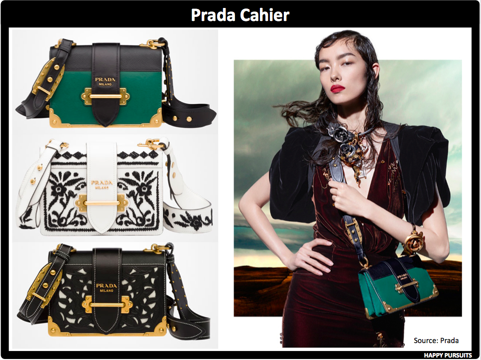 6d470bcc568c95 Prada Cahier Shoulder Bag On top of my list would definitely be the black /  green Cahier bag. This bag was launched in 2016 and has been pretty popular.