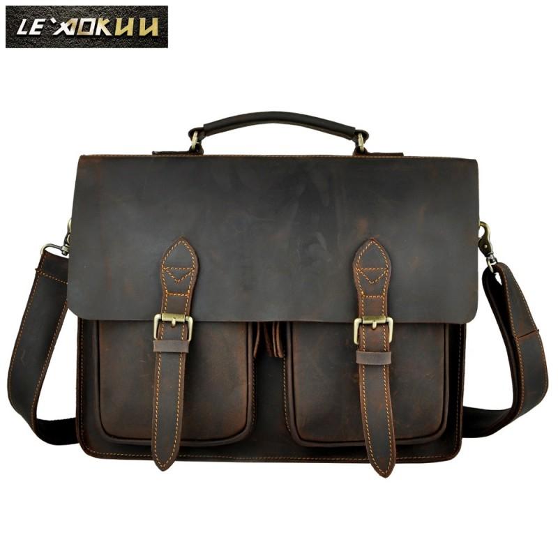 Briefcases Man for lawyer Genuine Leather Messenger Bag Men Shoulder Bags