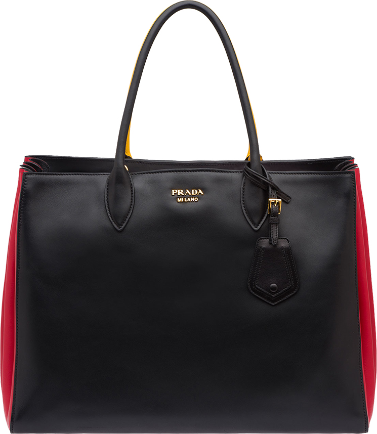 Classic And Chic Prada Tri-color Bibliotheque Bag