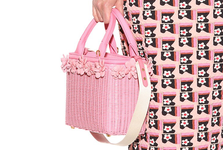 Prada Flower Wicker Basket